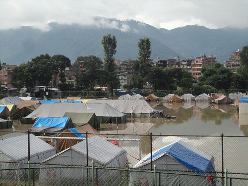 Bhaktapur earthquake survivors flood
